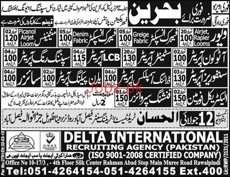 Fabric Inspectors, Electrical Foreman, LCB Operators Wanted