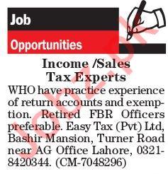Sales Tax Expert Jobs 2018 in Lahore