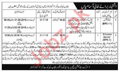 Punjab Labor Court No 7 Gujranwala Junior Clerk Jobs 2018