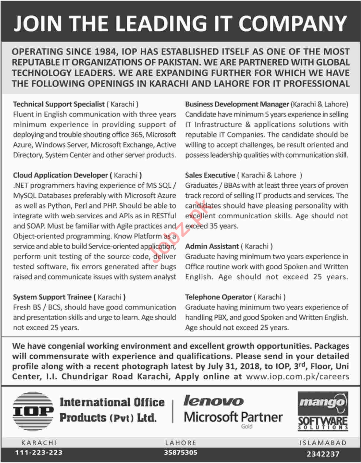 International Office Products Karachi Jobs 2018 for Managers