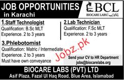 Biocare Labs Pvt Limited Staff Technologists Jobs