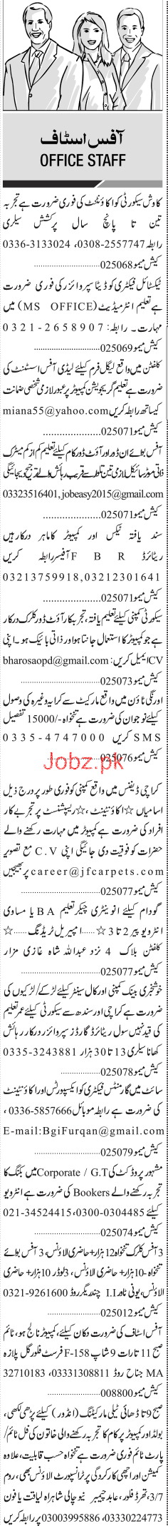 Accountant, Data Supervisors, Lady Office Assistants Wanted