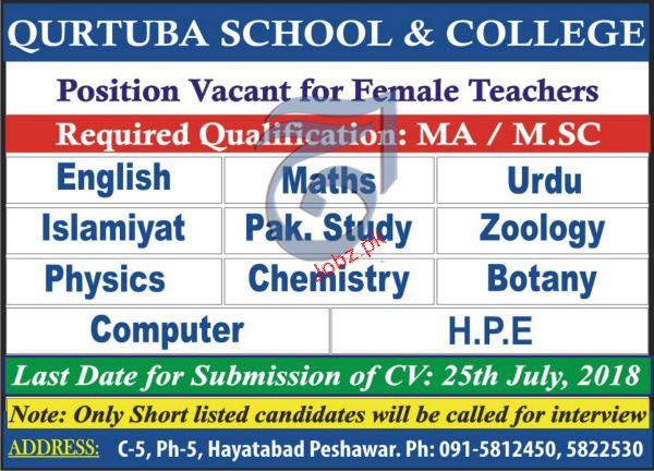 Qurtuba School & College Female Teachers Jobs