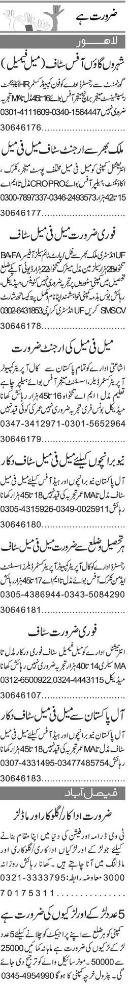 Telephone Operators, HR Accountant Job Opportunity
