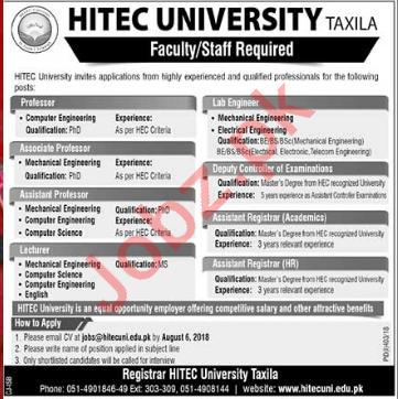 HITEC University Taxila Jobs 2018 for Professors