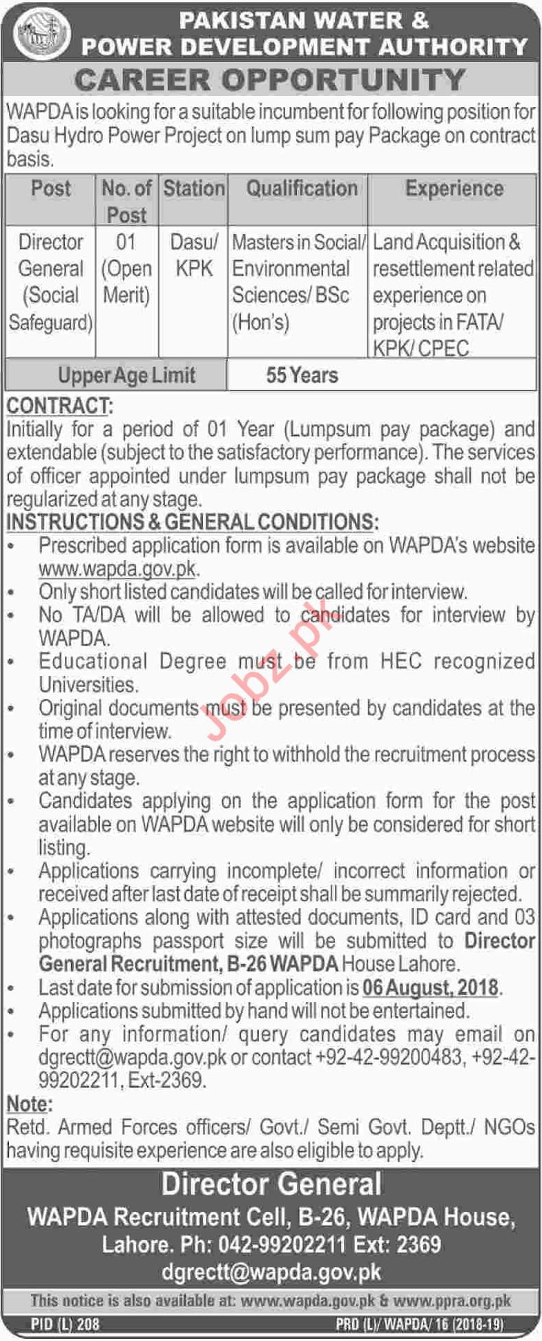 Pakistan Water & Power Development Authority WAPDA Jobs
