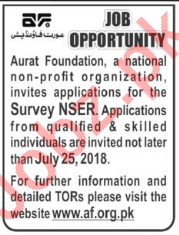 Aurat Foundation Peshawar NGO Jobs 2018 for Survey NSER