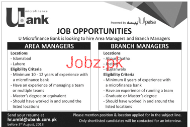 Area Managers and Branch Managers Job in U Bank