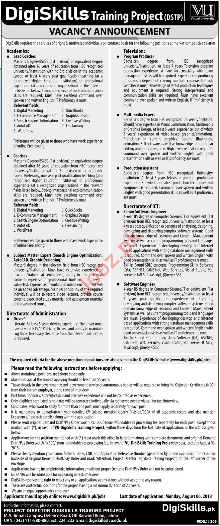 Virtual University of Pakistan VU Lahore Jobs 2018