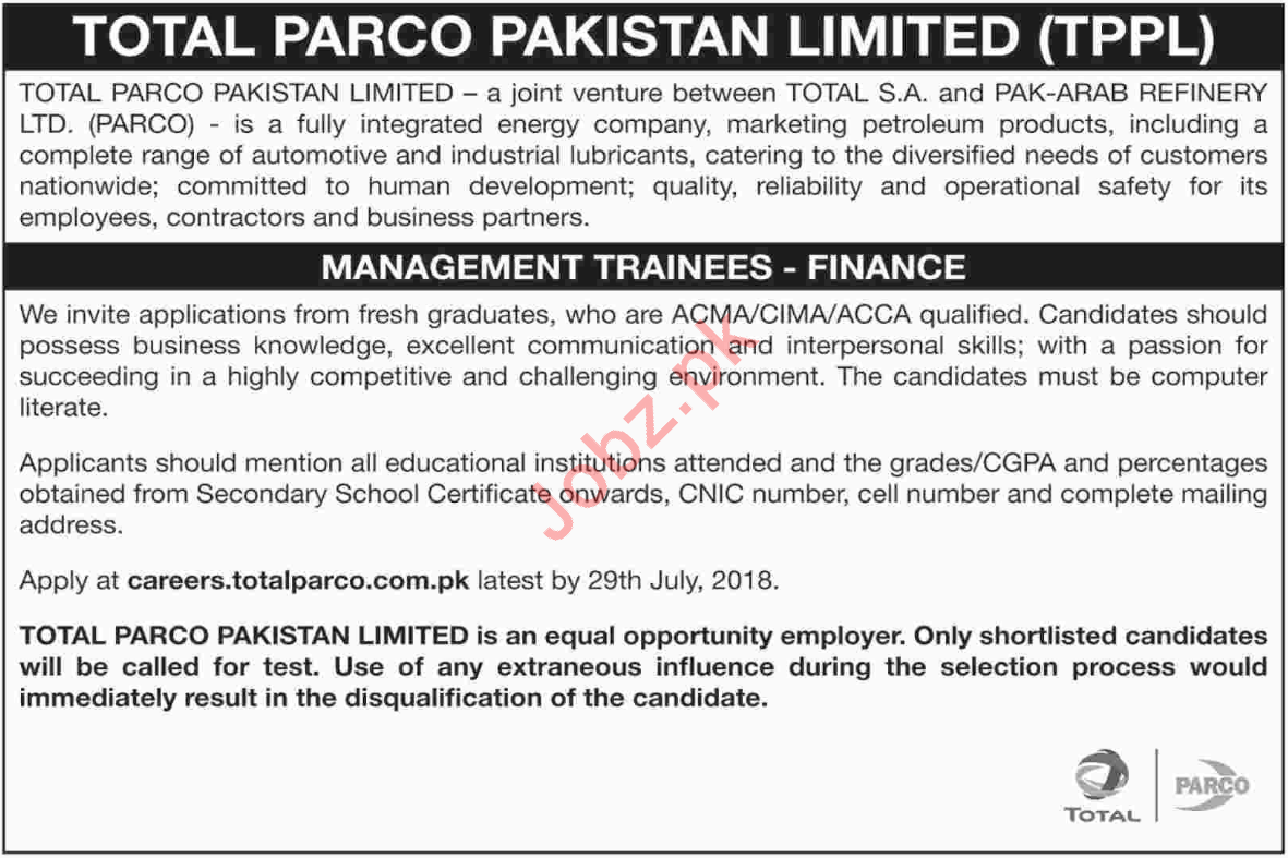 Total PARCO Pakistan Limited TPPL Jobs