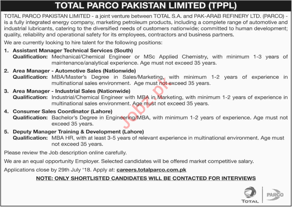 Managers at Total PARCO Pakistan Limited TPPL