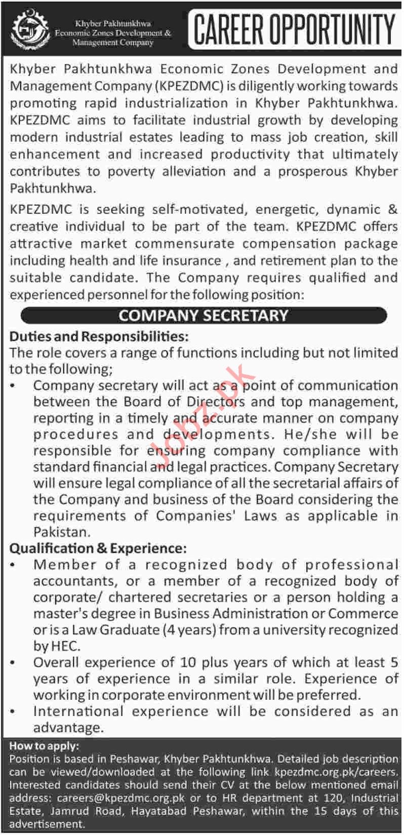 KPK Economic Zones Development and Management Co KPEZDMC Job