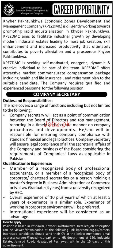 Khyber Pakhtunkhwa Economic Zones Development Co Jobs