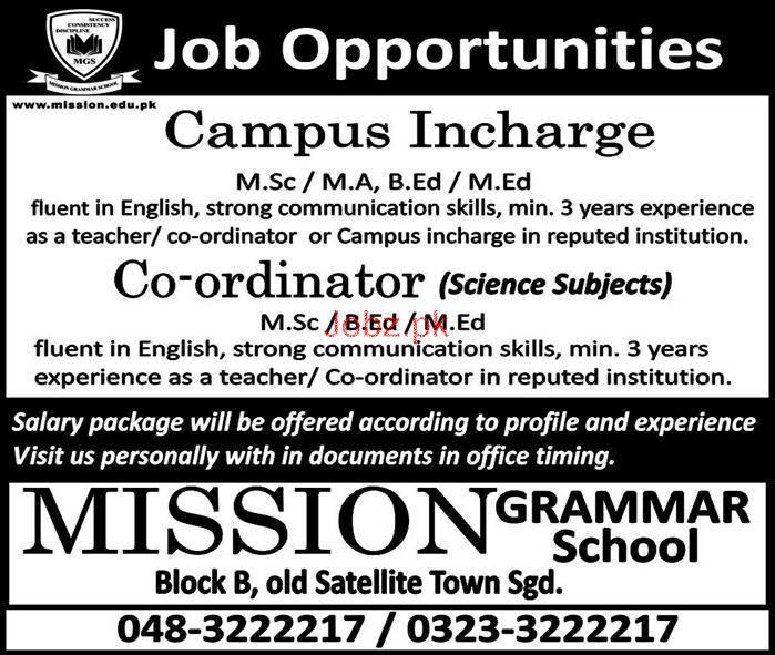 Mission Grammar School Campus Incharge Jobs