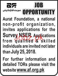 Aurat Foundation Survey NSER Jobs