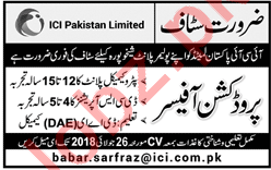 Production Officer for ICI Pakistan Limited