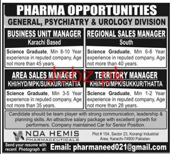 Business Unit Manager Job in NOA Hemis Pharmaceuticals
