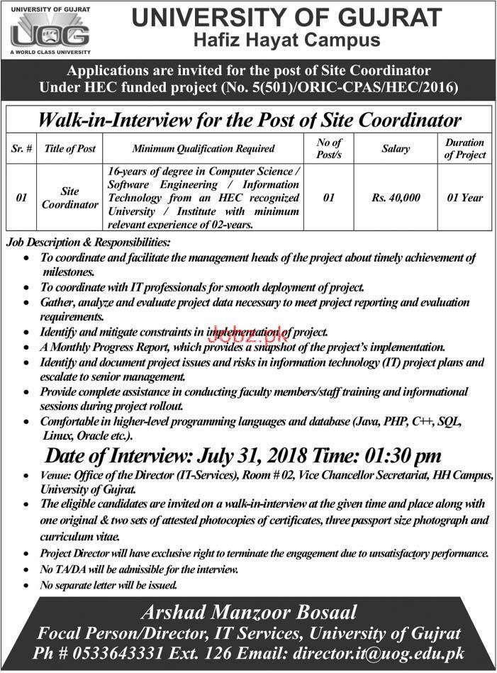 University of Gujrat UOG Site Coordinator Jobs