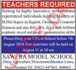 Sawera Model School Muzaffarabad Teachers Jobs 2018