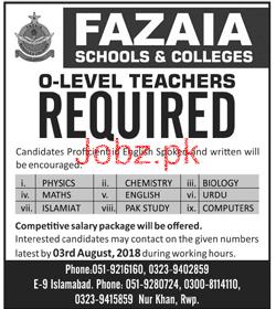 Fazaia Schools and Colleges Teachers Jobs