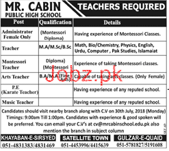 Mr Cabin Public High School Teachers Jobs