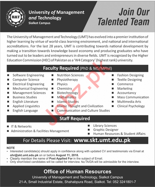 University of Management and Technology UMT Jobs