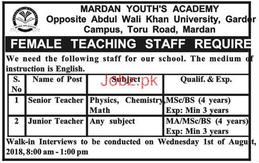 Mardan Youths Academy Senior Teachers Jobs