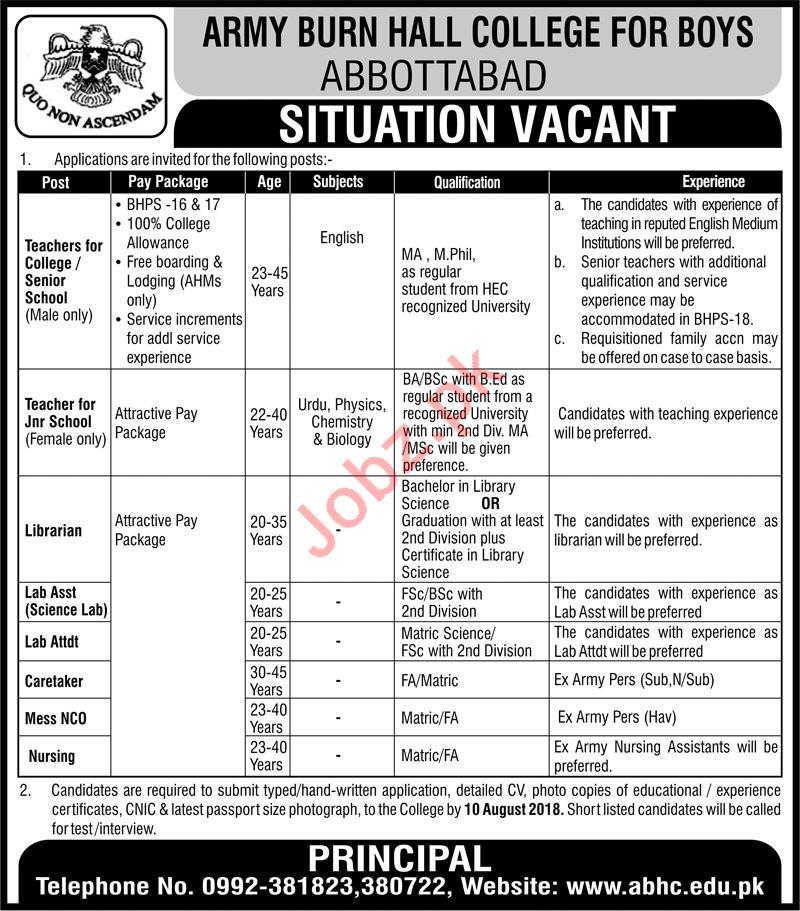 Army Burn Hall College Abbottabad Jobs for Teachers