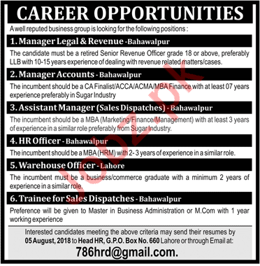 Managers required