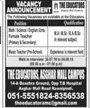 The Educators Asghar Mall Campus Teachers Jobs