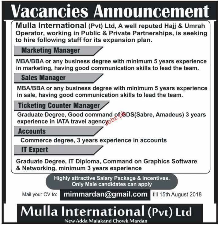 Mulla International Private Limited Jobs