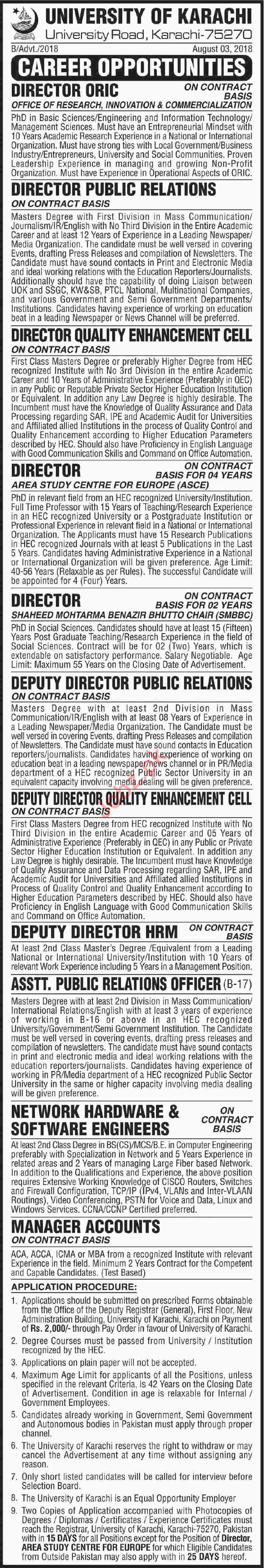 Career Opportunities for University of Karachi UOK