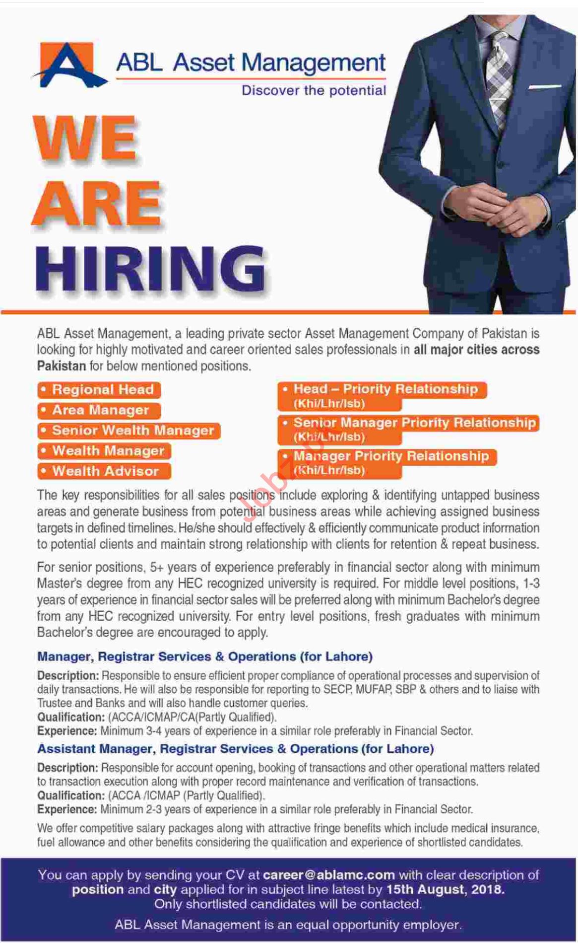 Jobs at ABL Asset Management Company