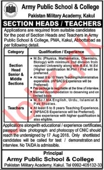 Pakistan Military Academy Kakul Section Head Jobs 2018