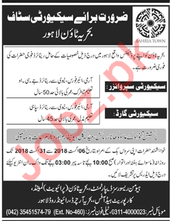 Security Staff for Bahria Town Lahore