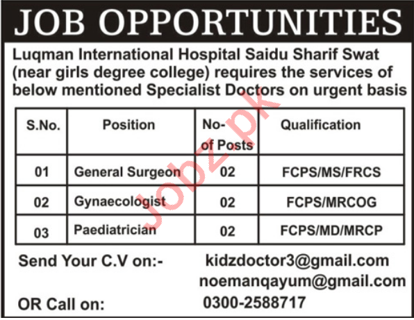 Luqman International Hospital Swat Jobs 2018 for Surgeons