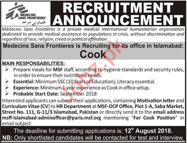 MSF Pakistan NGO Jobs 2018 for Cook