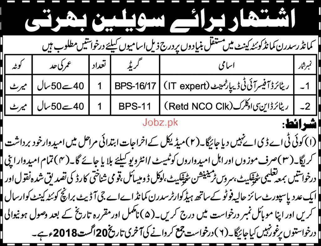 Commander Sui Sidran Commander Quetta  Jobs