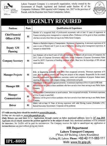 Lahore Transport Company LTC Lahore Jobs 2018