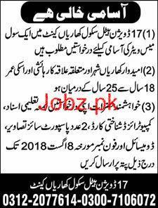 17 Division Battle School Kharian Cant Jobs