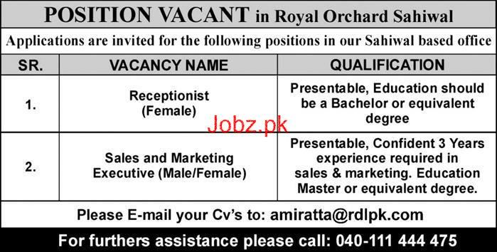 Female Receptionists, Sales & Marketing Executives Wanted