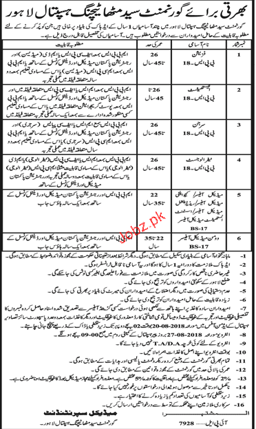Government Syed Mitha Hospital Medical Jobs