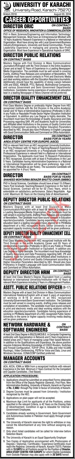University of Karachi Jobs 2018 for Director ORIC