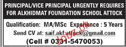 Alkhidmat Foundation School Attock Jobs