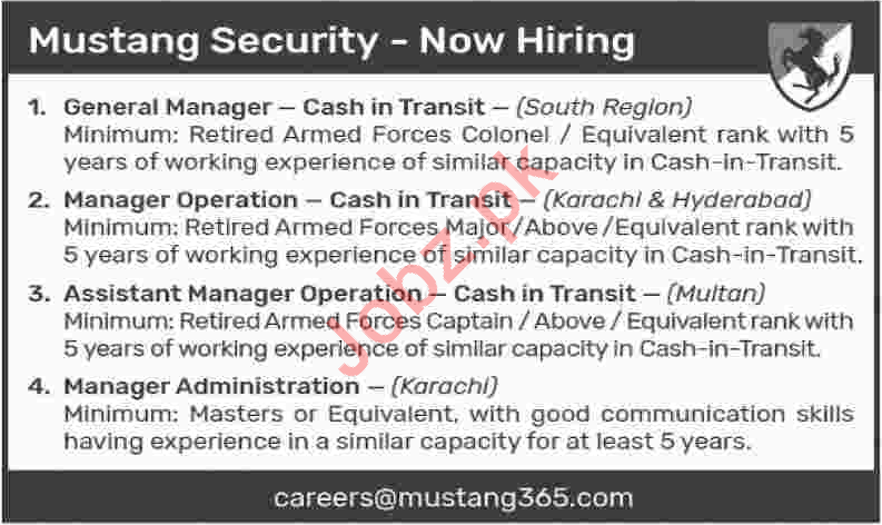 Mustang Security Karachi Jobs 2018 for Managers