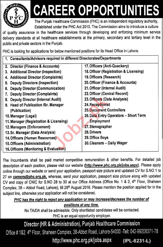 Punjab Healthcare Commission PHC Jobs 2018 for Consultants