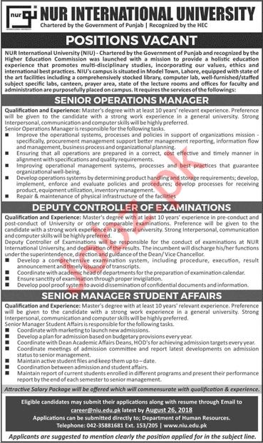 Nur International University NIU Jobs