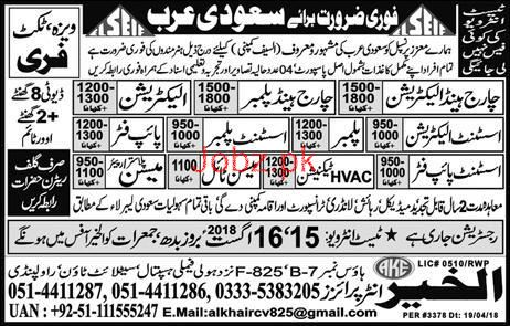 Charge Hand Electricians, Assistant Plumbers Job Opportunity