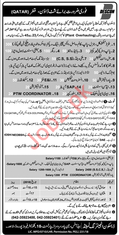 Descon Engineer Qatar Jobs 2018 for Fitter & Riggers