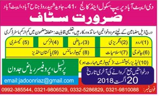 The Abbottabad   Prep School and College  Teachers Jobs